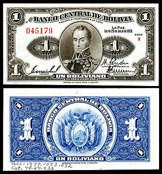 Bolivian boliviano (1864–1963) - Image: BOL 119a Banco Central de Bolivia 1 Boliviano (1928)
