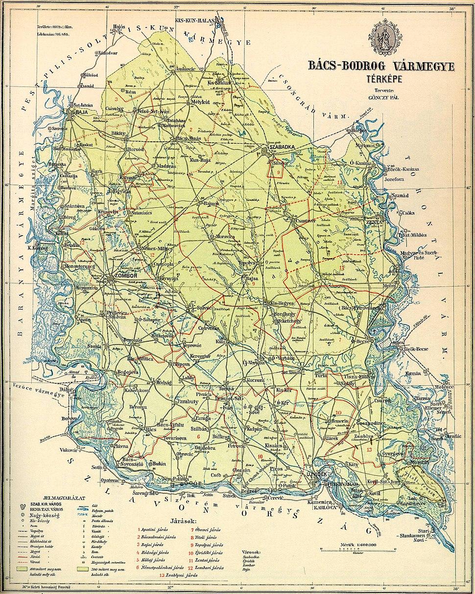 Bacs-Bodrog county map