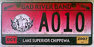 Vehicle registration plates of Native American tribes in the United States - Bad River Tribal license plate