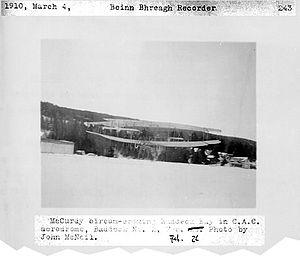 Canadian Aerodrome Baddeck No. 1 and No. 2 - Baddeck No. 2 over Baddeck Bay, piloted by McCurdy, February 1910.
