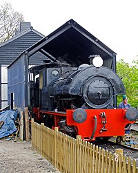 Bagnall in the Engine Shed, Mid Suffolk Light Railway (geograph 5357451).jpg