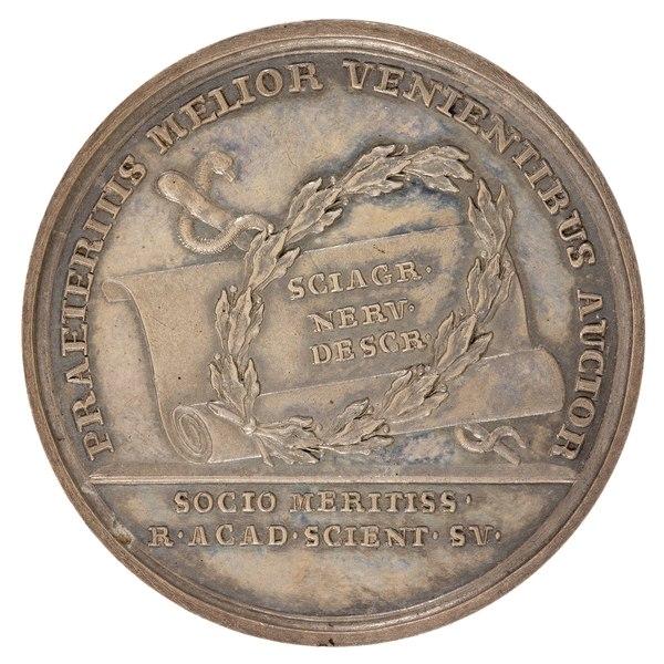 File:Baksida av medalj med bild av lagerkrans och orm samt text - Skoklosters slott - 99396.tif