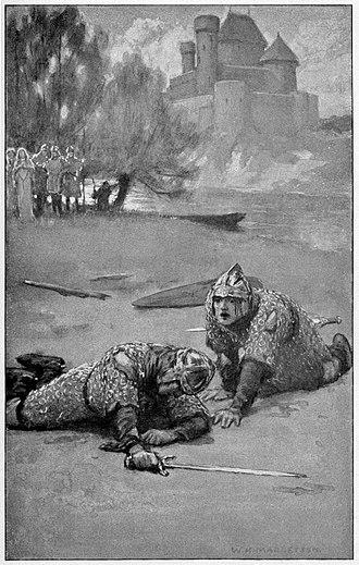 "Sir Balin - ""Balan, full of fear, crawled on his hands and knees to his brother."" W. H. Margetson's illustration for Legends of King Arthur and His Knights (1914)"