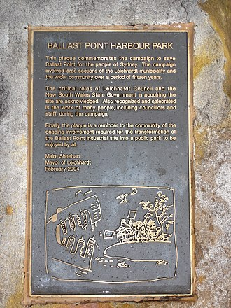 Ballast Point (New South Wales) - Plaque commemorating the campaign to save Ballast Point