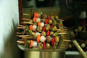 Tapas - Banderillas, skewer with pickles