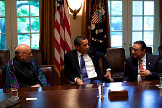 Afghanistan–Pakistan relations - Afghan President Hamid Karzai with U.S. President Barack Obama and Pakistani President Asif Ali Zardari during a US-Afghan-Pakistan Trilateral meeting at the White House in Washington, DC.