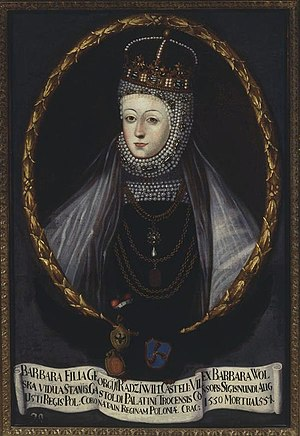 Barbara Radziwiłł - Barbara Radziwiłł in coronation robes and pearls that became her signature jewelry. 18th-century copy of an original 16th-century portrait.