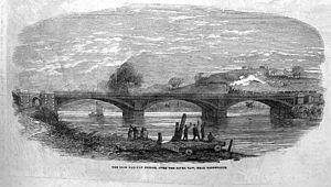 North Devon Railway - The iron railway bridge over the River Taw south of Barnstaple in 1854