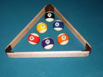 Baseball pocket billiards - The extra balls of baseball pocket billiards in a rack.