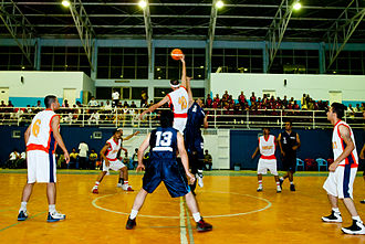 Sport in Afghanistan - Local basketball game in Kabul between teams from Herat and Badghis provinces. The Afghanistan national basketball team won a gold medal in the 2010 South Asian Games.