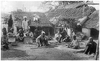 Caste - The Basor weaving bamboo baskets in a 1916 book. The Basor are a Scheduled Caste found in the state of Uttar Pradesh in India.