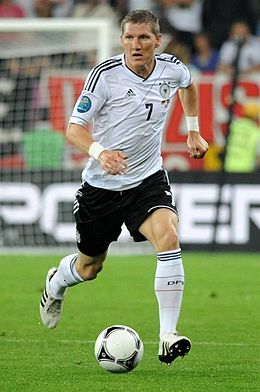 Schweinsteiger in the match between Germany and Portugal during UEFA Euro 2012