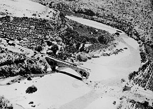 Battle of Damour - The broken bridge at the mouth of the Damour river