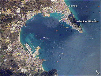 Outline of Gibraltar - An enlargeable satellite image of the Bay of Gibraltar