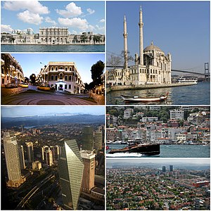 Clockwise, from top: Ortaköy Mosque, Arnavutköy, Levent and Etiler, view of Büyükdere Avenue, Akaretler Row Houses, Dolmabahçe Palace