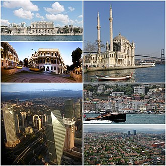 Beşiktaş - Clockwise, from top: Ortaköy Mosque, Arnavutköy, Levent and Etiler, view of Büyükdere Avenue, Akaretler Row Houses, Dolmabahçe Palace