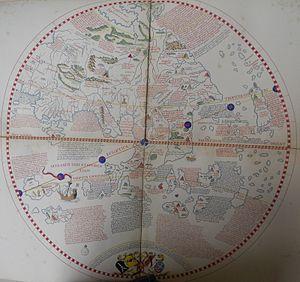 Martin Behaim -  Martin Behaim, eastern hemisphere of his globe made in Nuremberg in 1492. Friedrich Wilhlem Ghillany, Geschichte des Seefahrers Ritter Martin Behaim, Nürnberg, Bauer und Raspe, J. Merz, 1853.
