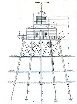 Alexander Mitchell (engineer) - Plan from the late 1840s of Mitchell's lighthouse in Belfast Lough