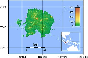 Belitung shipwreck - Map of Belitung Island showing the Belitung shipwreck marked with a red cross (2°45′S, 107°35′E)