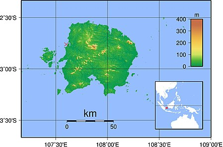 Map of Belitung Island showing the wreck site marked just off the north-west coast