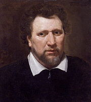 Oil painting of Ben Jonson, by Abraham Blyenberch, circa 1617.