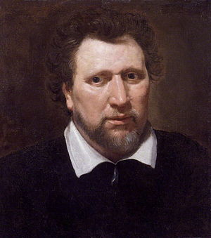 Ben Jonson - Ben Jonson (c. 1617), by Abraham Blyenberch; oil on canvas painting at the National Portrait Gallery, London