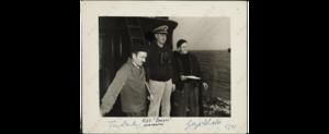 USS Dorado (SS-248) - Artists Thomas Hart Benton and Georges Schreiber on the deck of the USS Dorado, summer 1943