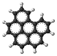 Ball-and-stick model of the Benzo[ghi]perylene molecule