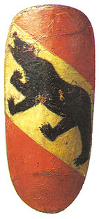Shield with the oldest color representation of the Bernese coat of arms, 14th century