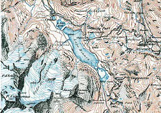 Terrain cartography - Siegfried map of Bernina Pass (1877) with black, blue and brown contour lines at 30-meter intervals