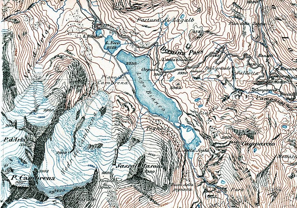 Berninapass 1877 Siegfriedkarte