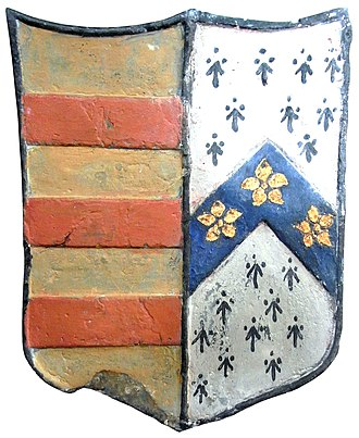 John Berry (Royal Navy officer) - Heraldic escutcheon showing: Or, three bars gules (Berry) impaling Ermine, on a chevron azure three cinquefoils or (Moore of Moor Hayes, Cullompton), on  mural monument in Molland Church, Devon, erected in 1684 in memory of Rev. Daniel Berry (1609-1654), vicar of Molland cum Knowstone by his son Admiral Sir John Berry
