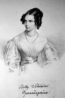 Betty Schroeder, Lithographie von Josef Eduard Teltscher, 1826 (Quelle: Wikimedia)
