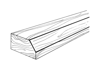 Bevel edge of a structure that is not perpendicular to the faces of the piece
