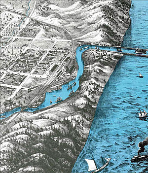 Trail Creek (Lake Michigan) - Bird's Eye View of Michigan City, 1869, by A. Ruger (partial sketch).
