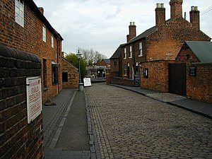 Black Country Living Museum - View towards the Back to Back (Brook Street) houses at the Black Country Living Museum