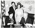 Blanche Cotton, Al Rend, Lezetha Swart, and Mayor John F. Collins during Beauty Salon Week (10559471146).jpg
