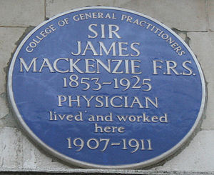 James Mackenzie (cardiologist) - Blue plaque, London