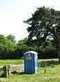 Blue toilet in churchyard - geograph.org.uk - 1331956.jpg