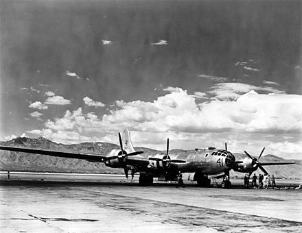 The length of the 141-foot (43 m) wing span of a Boeing B-29 Superfortress based at Davis-Monthan Field is vividly illustrated here with the cloud-topped Santa Catalina Mountains as a contrasting background. Boeing B-29 Superfortress at Davis-Monthan AFB.jpg