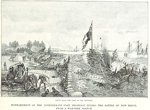 Battle of New Bern - The Union ships bombard Fort Thompson