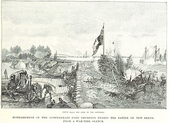 Battle of New Bern - Bombardment of Fort Thompson, a war-time sketch by Francis H. Schell.