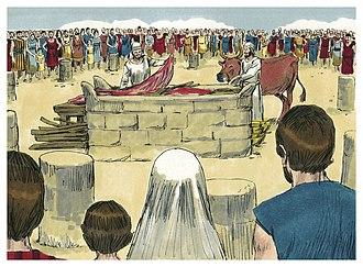 Vayikra (parsha) - Priests Offering a Sacrifice (1984 illustration by Jim Padgett, courtesy of Sweet Publishing)