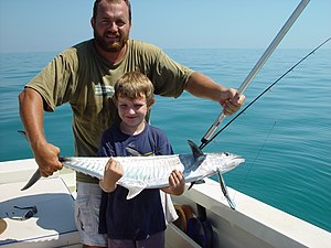 Narrow-barred Spanish mackerel - Young angler with an average-sized Spanish mackerel off Darwin, Northern Territory