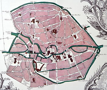 """""""Plan der Stadt Braunschweig"""" von Albrecht Heinrich Carl Conradi um 1755."""