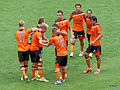 Brisbane Roar celebrate their goal (8397750903).jpg