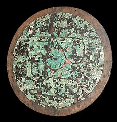 Ceremonial shield with mosaic decoration.