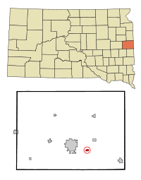 Brookings County South Dakota Incorporated and Unincorporated areas Aurora Highlighted.svg