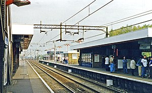 Broxbourne railway station - View NE, towards Bishops Stortford in 1995