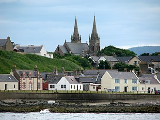 Buckie - St Peter's, Buckie, as seen from offshore between Cluny and Buckpool harbours